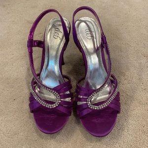 Deb formal purple heels with rhinestones